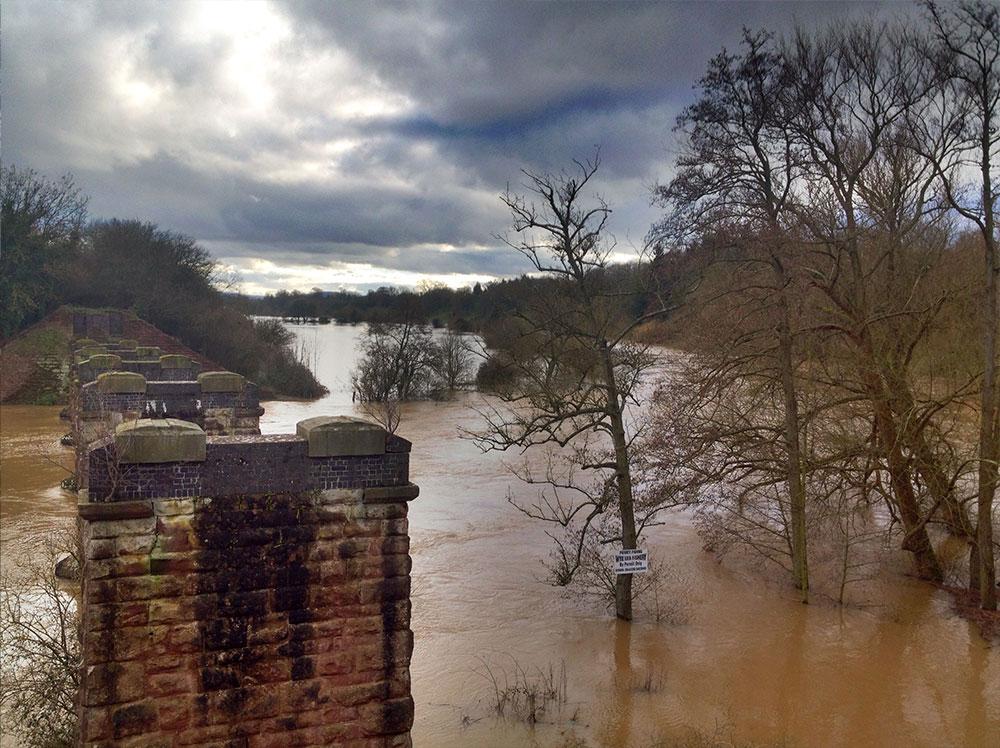 Railway Crossing at Backney Bridge Flooded