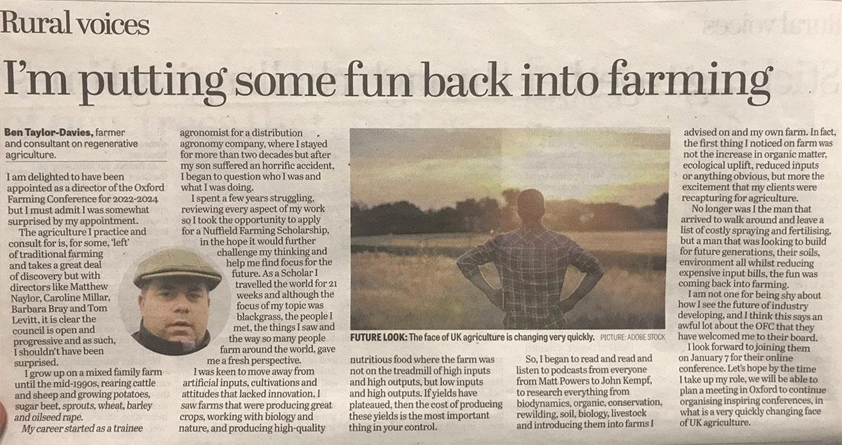 Regen Ben Yorkshire Post Article